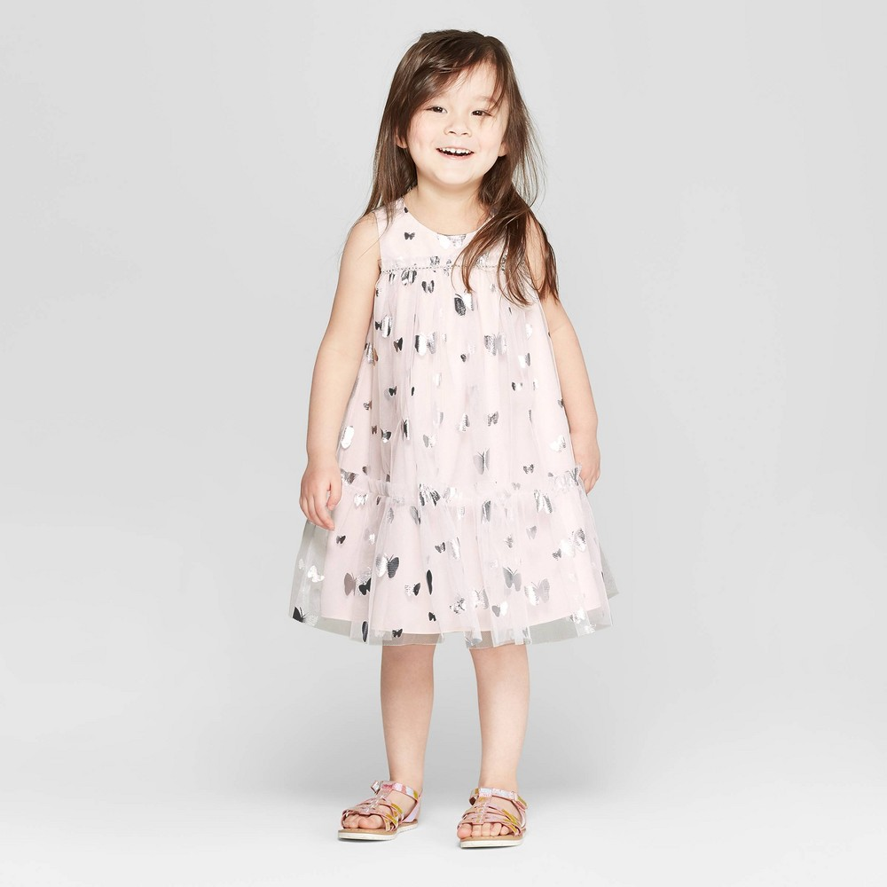 Mia & Mimi Toddler Girls' Butterfly A-Line Dress - Pink/Silver 12M, Silver Pink