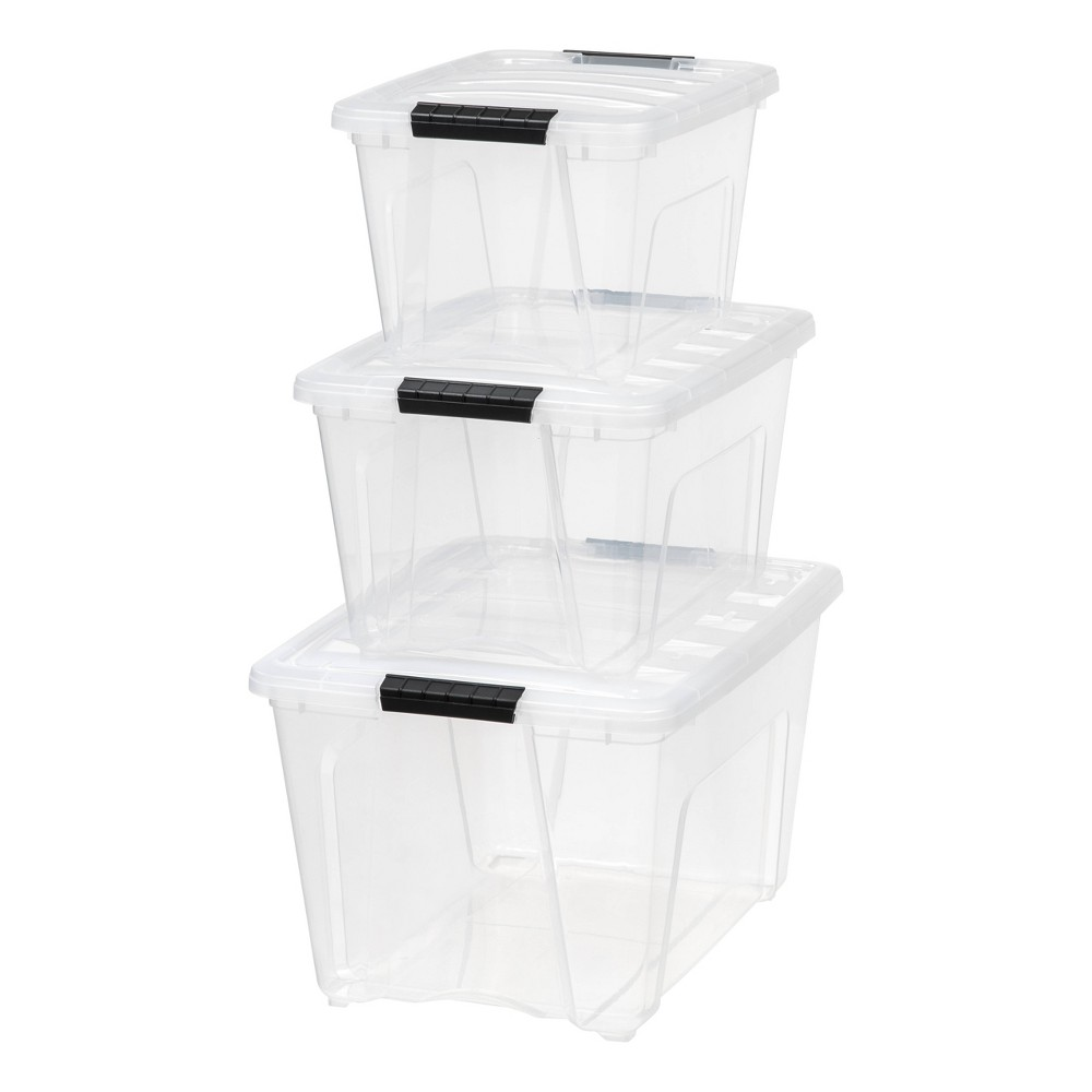 Image of IRIS 19 32 And 53qt Stack & Pull Storage Bin - Clear