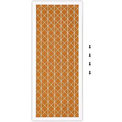 Juvale Decorative Diamond Cork Bulletin Board White Rhombus Wall Decor,  23.7 x 9.7 in