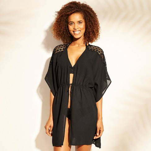 f640343307b03 Women's Lace Trim Tie Front Kimono Cover Up - Kona Sol™ Black : Target