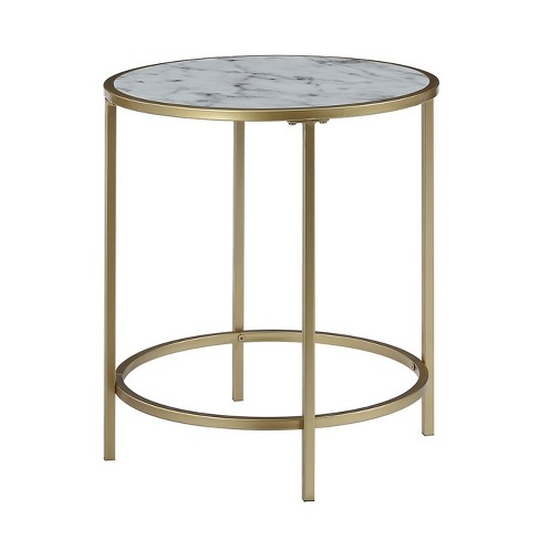 Gold Coast Faux Marble Round End Table Faux Marble White - Johar Furniture - image 1 of 4