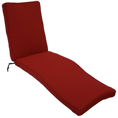 Indoor/Outdoor Chaise Lounge Cushion - Red - Sunnydaze Decor
