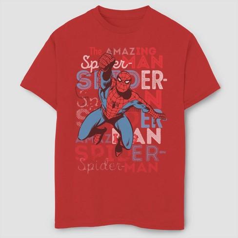 Boys' Marvel Spider-Man Amazing Action Short Sleeve T-Shirt- Red - image 1 of 1