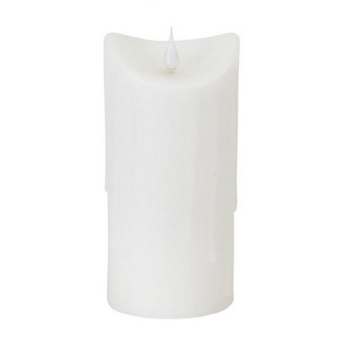 "Melrose 7"" Prelit LED Simplux Dripping Wax Flameless Pillar Candle with Moving Flame - White"