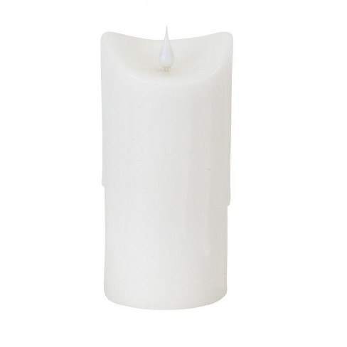 """Melrose 7"""" Prelit LED Simplux Dripping Wax Flameless Pillar Candle with Moving Flame - White - image 1 of 2"""