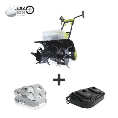 Sun Joe 24V-X2-TLR14 48-Volt iON+ Cordless Garden Tiller/Cultivator Kit   W/ 2 x 2.0-Ah Batteries and Charger.
