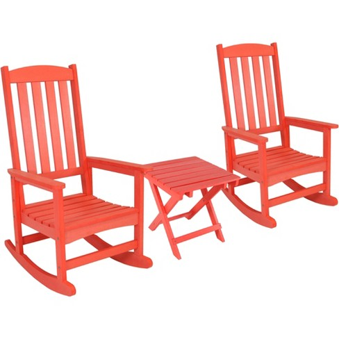 All-Weather Rocking Chair Set of 2 with Folding Side Table - Salmon - Sunnydaze Decor - image 1 of 4
