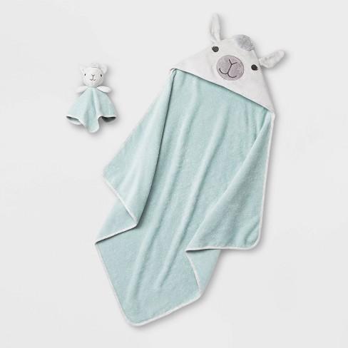 Baby Lama Bath Towel And Washcloth Set - Cloud Island™ White/Green One Size - image 1 of 2