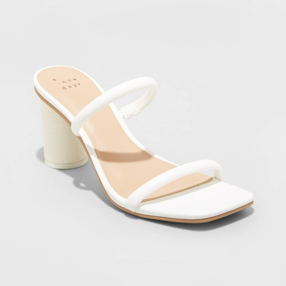 Women 39 S Cass Square Toe Heels A New Day 8482 White 10