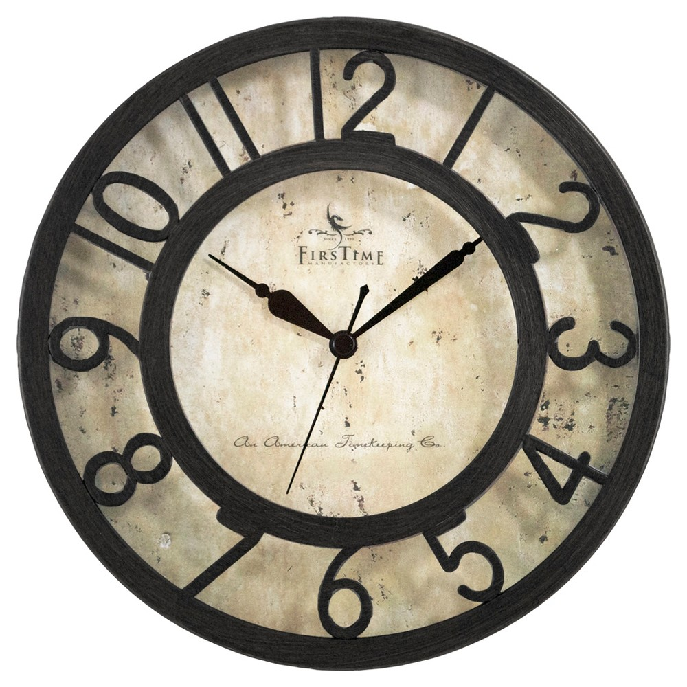 Image of Raised Number Round Wall Clock Oil Rubbed Bronze 8 - FirsTime