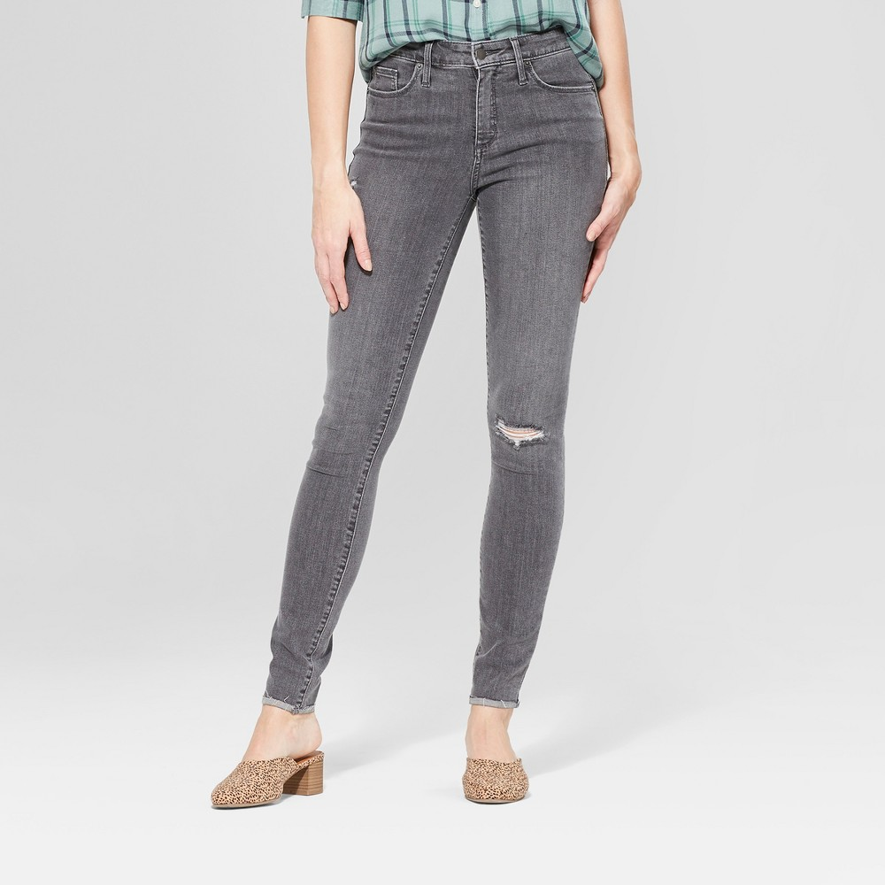 Women's High-Rise Destroyed Skinny Jeans - Universal Thread Gray Wash 6