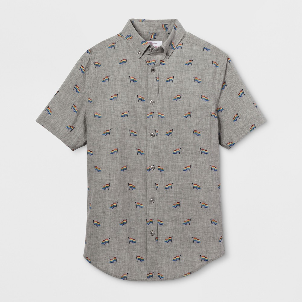 Pride Adult Short Sleeve Gender Inclusive Printed Button-Down Shirt - Gray M, Men's