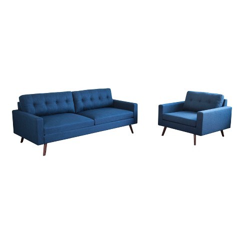 2pc Devon Mid Century Sofa And Armchair Navy Blue Abbyson Living
