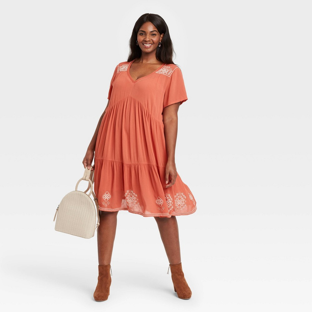 Women 39 S Plus Size Short Sleeve Embroidered Dress Knox Rose 8482 Coral 1x