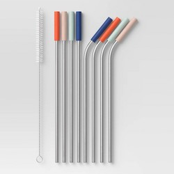 9pc Stainless Steel & Silicone Straw Set (4 Bent/4 Straight 4 Color Assortment) - Room Essentials™