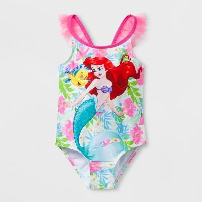 Toddler Girls' Disney Little Mermaid One Piece Swimsuit - Pink 2T