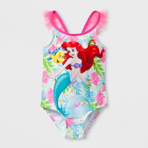 Toddler Girls' Disney Little Mermaid One Piece Swimsuit - Pink - image 1 of 2
