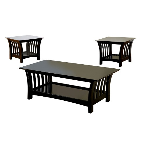 Outstanding Halli Mission Style Accent Table Set Black Sun Pine Short Links Chair Design For Home Short Linksinfo