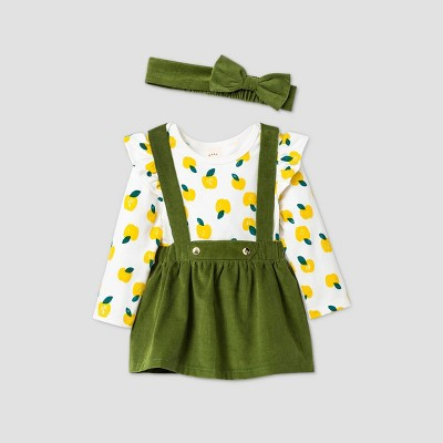 Baby Girls' Corduroy Apple Skirtall Top & Bottom Set with Headband - Cat & Jack™ Green 3-6M