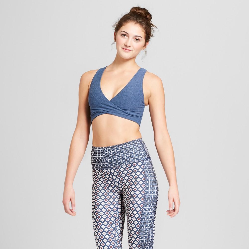 Women's Comfort V-Neck Wrap Sports Bra - JoyLab Navy (Blue) S