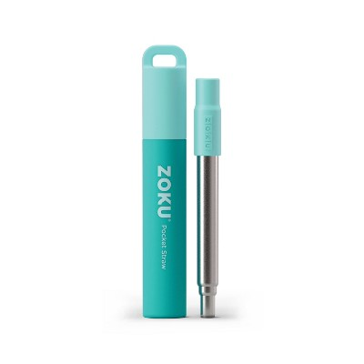 Zoku Two Tone Reusable Collapsible Pocket Straw with Carrying Case and Cleaning Brush Teal