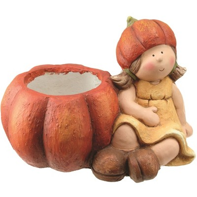 "Northlight 13.75"" Yellow and Orange Girl with Pumpkin Thanksgiving Tabletop Decor"