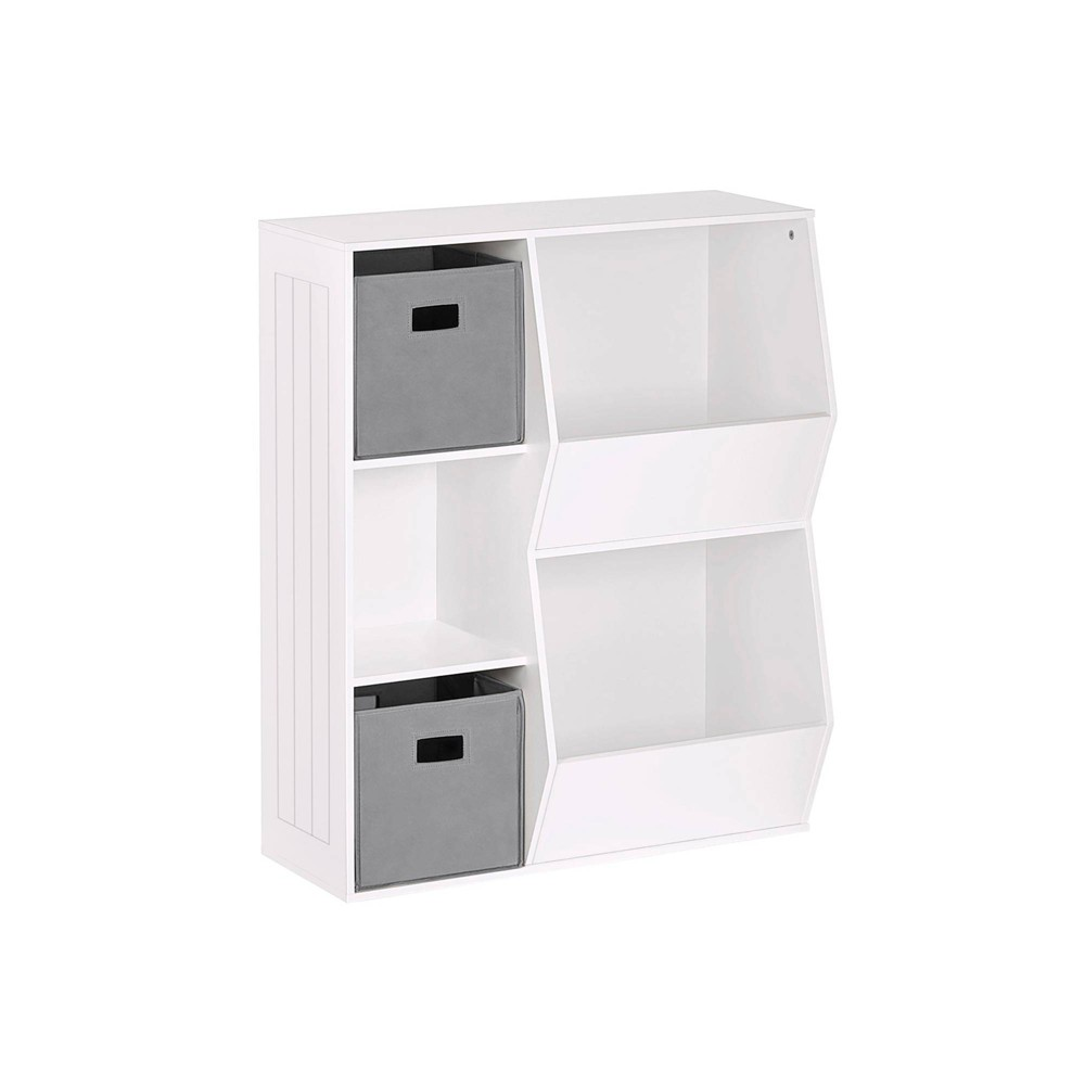 3pc Kids 39 Floor Cabinet Set With 2 Bins White Gray Riverridge Home