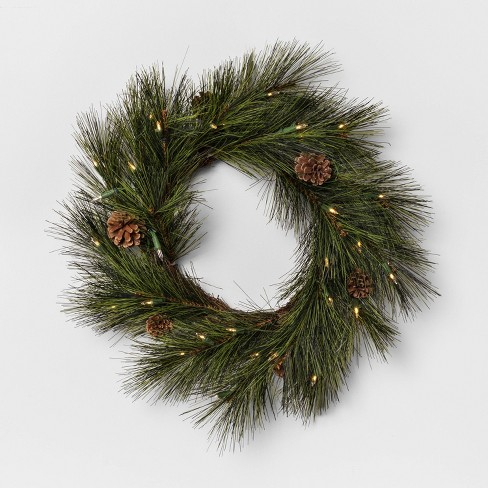 """24"""" LED Pre-Lit Artificial Wreath - Hearth & Hand™ with Magnolia - image 1 of 4"""