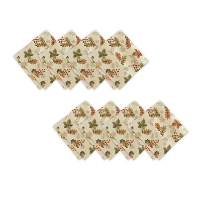 """Swaying Leaves Allover Print Fall Napkins, Set of 8 - 17"""" x 17"""" - Ivory - Elrene Home Fashions"""