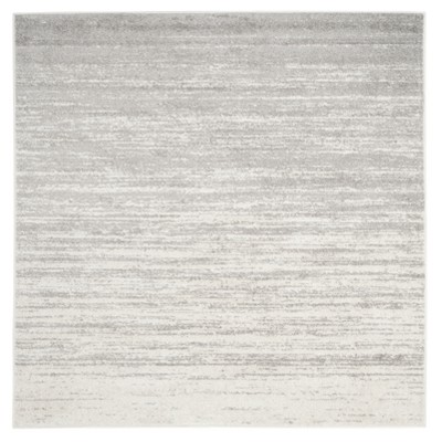 Ivory/Silver Solid Loomed Square Area Rug 10'X10' - Safavieh