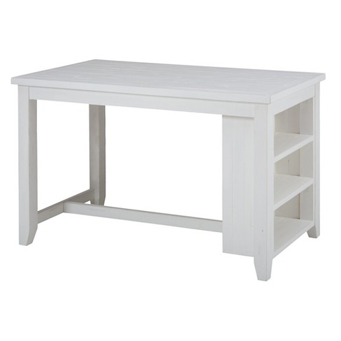 Madaket Counter Height Table with 3 Shelf Storage Wood/White - Jofran Inc.