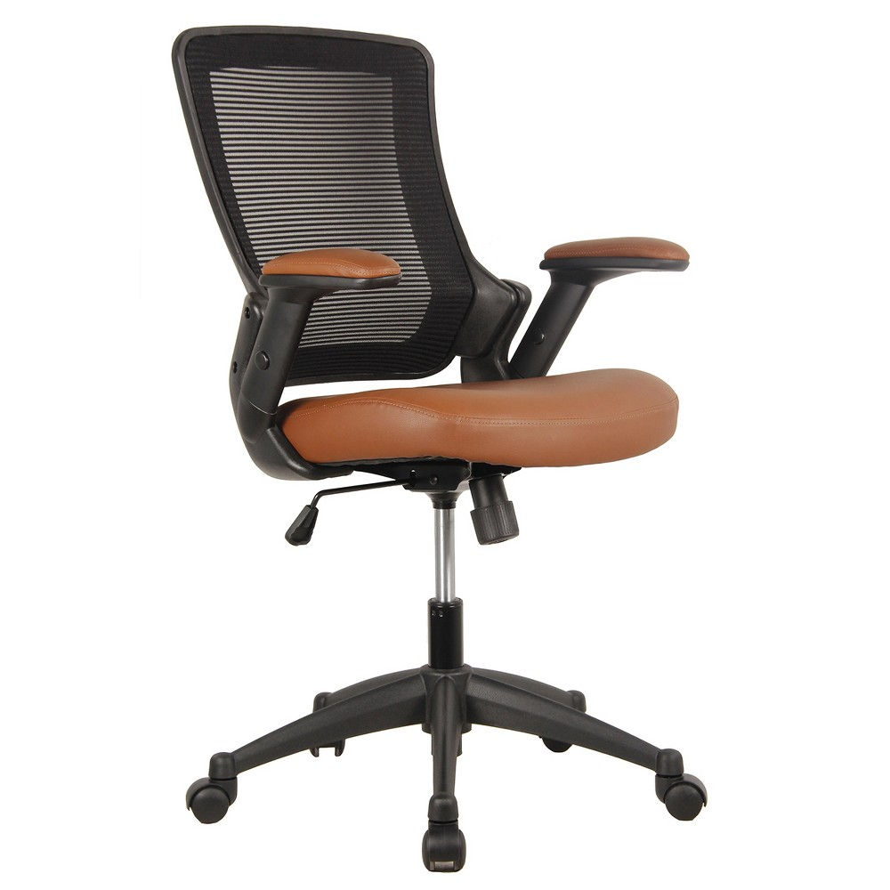 Mid Back Mesh Task Office Chair with Height Adjustable Arms Brown - Techni Mobili