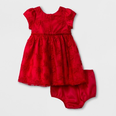 Mia & Mimi Baby Girls' Embroidered Mesh Dress - Red 0-3M