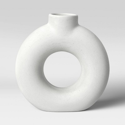 "7"" x 2"" Textured Ceramic Vase White - Project 62™"