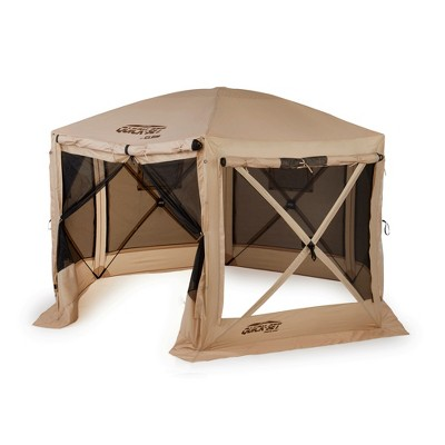CLAM Quick-Set 12.5 x 12.5 Foot Pavilion Portable Pop Up Camping Outdoor Gazebo 6 Sided Canopy Shelter with Carrying Bag and Ground Stakes, Tan