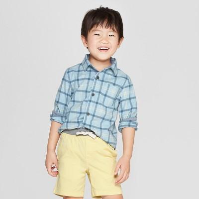Toddler Boys' Plaid Long Sleeve Button-Down Shirt - Cat & Jack™ Blue/Green 18M