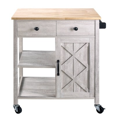 """34"""" Kitchen Cart with Wood Top Saw Cut White - Home Essentials"""