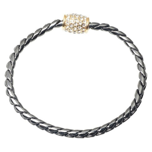 2 CT. T.W. Journee Collection Round Cut CZ Pave Set Magnetic Clasp Bracelet in Brass - Gunmetal - image 1 of 3
