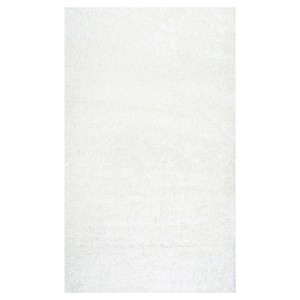 White Solid Loomed Area Rug - (4