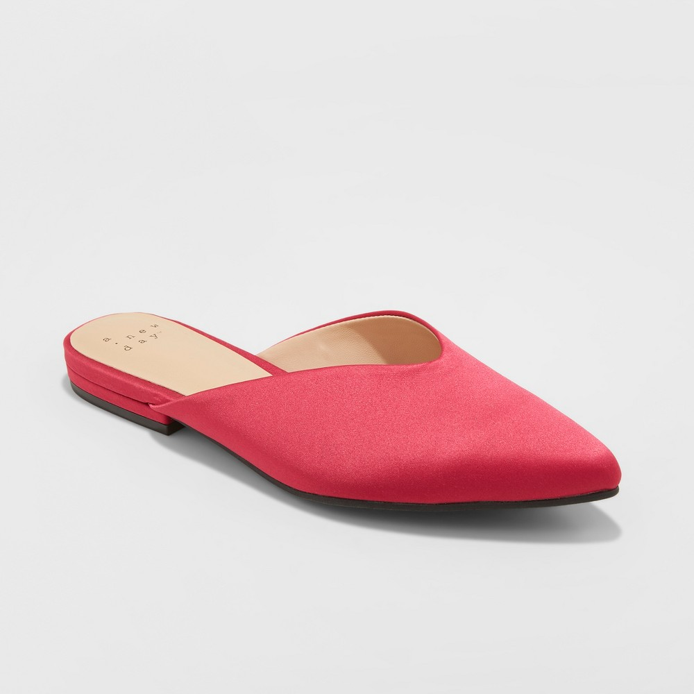 Women's Lan Faux Satin V Throat Backless Mules - A New Day Pink 7