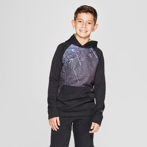 Boys' Graphic Meteor Shower Tech Fleece Pullover Hoodie - C9 Champion® Black - image 1 of 3