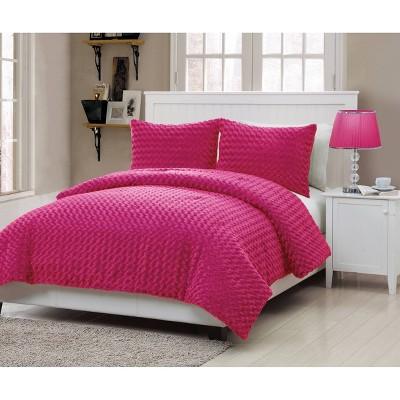 Pink Victoria Classics Rose Faux Fur Comforter Set Full 3pc - VCNY