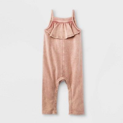 Grayson Mini Baby Girls' Ruffle Front Strappy Romper - Pink Newborn