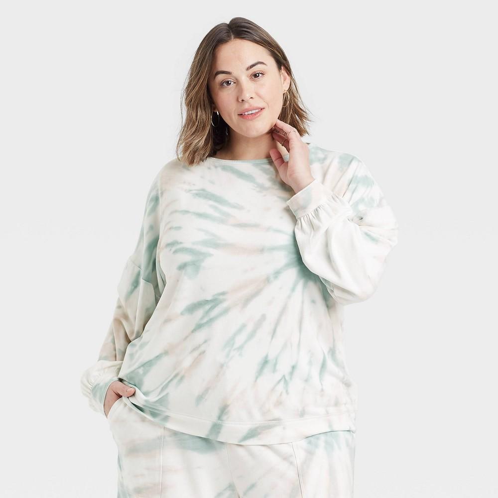 Women 39 S Plus Size Tie Dye Sweatshirt Knox Rose 8482 Green 1x