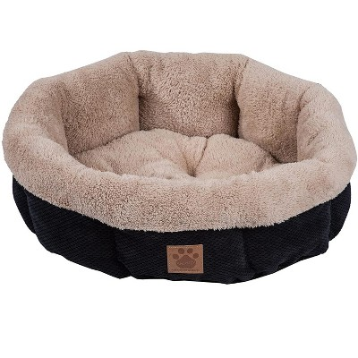 Petmate 7075995 SnooZZy Mod Chic Small Soft Round Shearling Small Dog or Cat Bed with Non-Slip Bottom, Machine Washable, Black