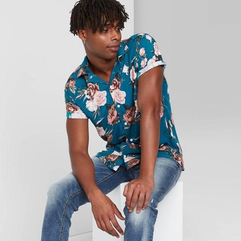 Men's Floral Print Short Sleeve Button-Down Shirt - Original Use™ Blue - image 1 of 3