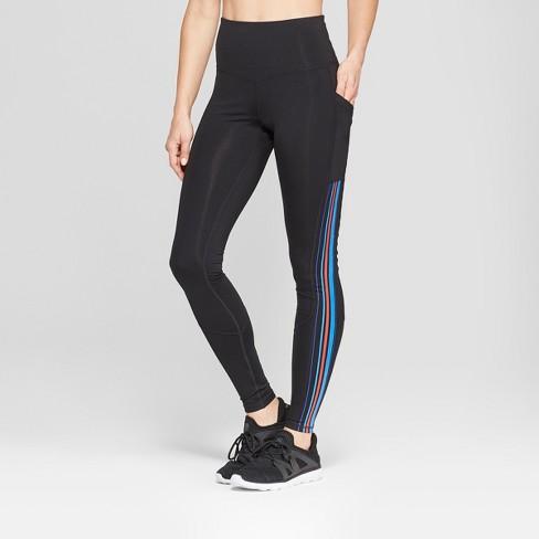 048b3ad64647 Women s Striped Training High-Waisted Leggings 28.5   Target