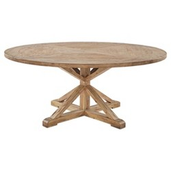 "Sierra Round Farmhouse Pedestal Base Wood Dining Table - 72"" - Vintage Pine - Inspire Q"
