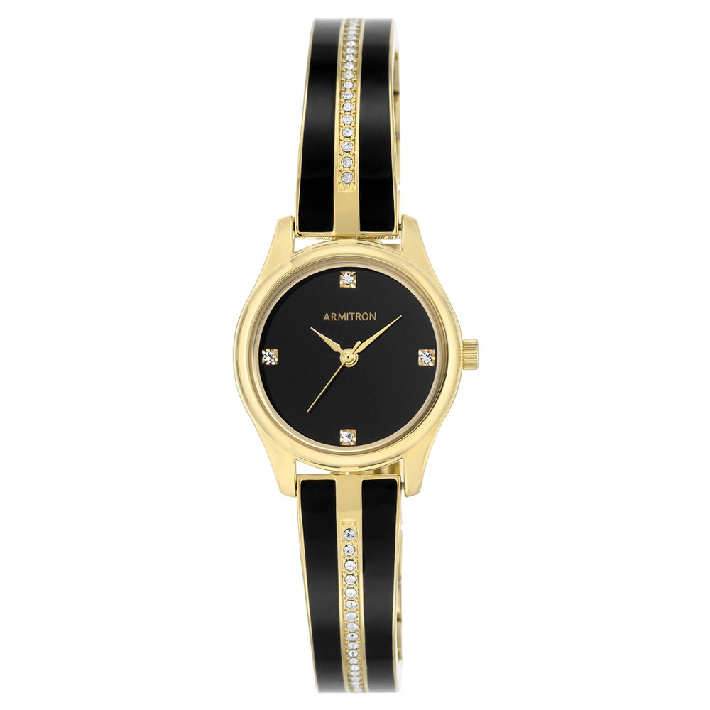 Image of Armitron Ladies' Bangle Watch - Black Enamel, Gold, Women's, Gold Black