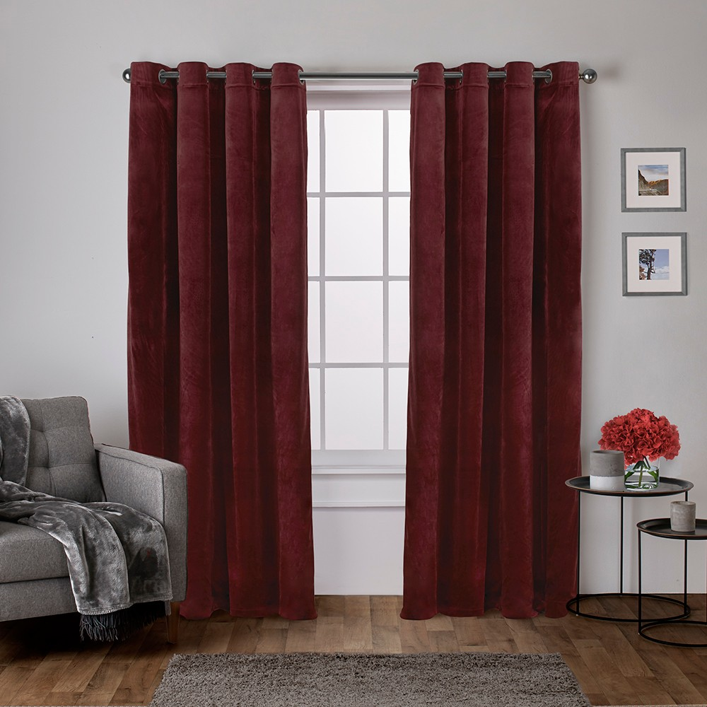 Velvet Heavyweight Window Curtain Panel Pair with Grommet Top Burgundy Red 54x108 - Exclusive Home